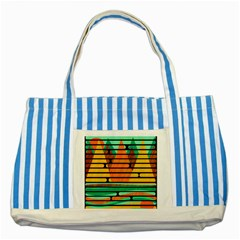 Decorative Autumn Landscape Striped Blue Tote Bag by Valentinaart