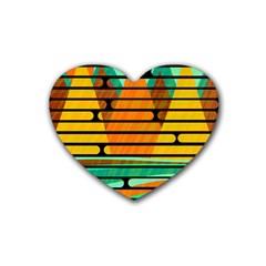 Decorative Autumn Landscape Heart Coaster (4 Pack)  by Valentinaart
