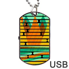 Decorative autumn landscape Dog Tag USB Flash (One Side) by Valentinaart