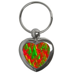 Xmas Trees Decorative Design Key Chains (heart)  by Valentinaart