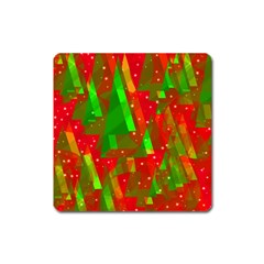 Xmas Trees Decorative Design Square Magnet by Valentinaart