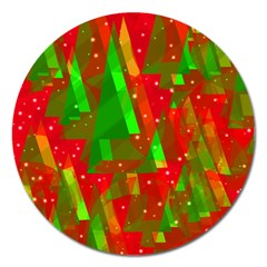 Xmas Trees Decorative Design Magnet 5  (round) by Valentinaart
