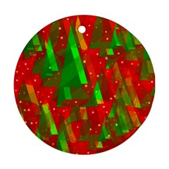 Xmas Trees Decorative Design Round Ornament (two Sides)  by Valentinaart