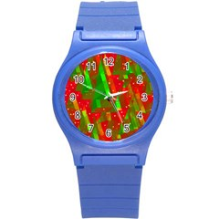 Xmas Trees Decorative Design Round Plastic Sport Watch (s) by Valentinaart