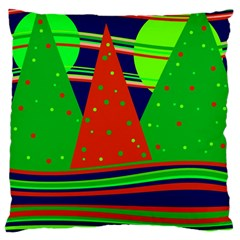 Magical Xmas Night Large Cushion Case (two Sides) by Valentinaart