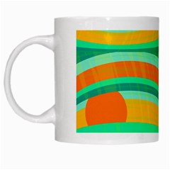 Green And Orange Decorative Design White Mugs by Valentinaart