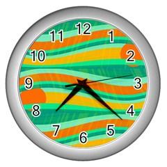 Green And Orange Decorative Design Wall Clocks (silver)  by Valentinaart