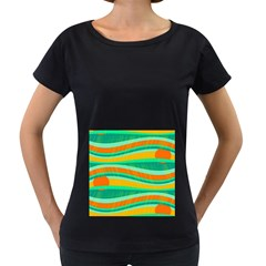 Green and orange decorative design Women s Loose-Fit T-Shirt (Black) by Valentinaart