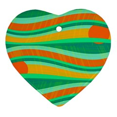 Green And Orange Decorative Design Heart Ornament (2 Sides) by Valentinaart
