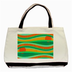 Green And Orange Decorative Design Basic Tote Bag (two Sides) by Valentinaart