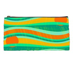 Green And Orange Decorative Design Pencil Cases by Valentinaart