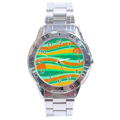 Green And Orange Decorative Design Stainless Steel Analogue Watch by Valentinaart