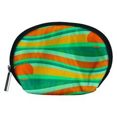 Green And Orange Decorative Design Accessory Pouches (medium)  by Valentinaart