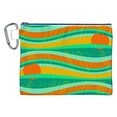 Green And Orange Decorative Design Canvas Cosmetic Bag (xxl) by Valentinaart