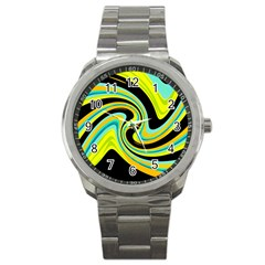 Blue And Yellow Sport Metal Watch by Valentinaart