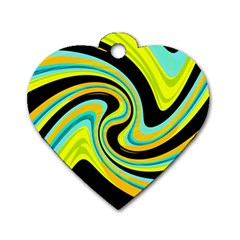 Blue And Yellow Dog Tag Heart (two Sides) by Valentinaart
