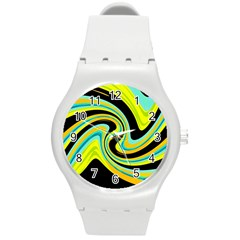 Blue And Yellow Round Plastic Sport Watch (m) by Valentinaart