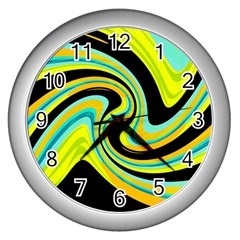 Blue And Yellow Wall Clocks (silver)  by Valentinaart