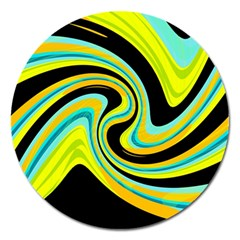 Blue And Yellow Magnet 5  (round) by Valentinaart