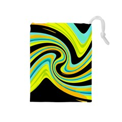 Blue And Yellow Drawstring Pouches (medium)  by Valentinaart