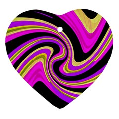 Pink And Yellow Ornament (heart)  by Valentinaart
