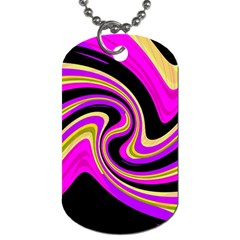 Pink And Yellow Dog Tag (two Sides) by Valentinaart