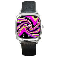 Pink And Yellow Square Metal Watch by Valentinaart