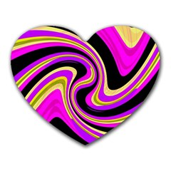 Pink And Yellow Heart Mousepads by Valentinaart