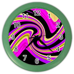Pink And Yellow Color Wall Clocks by Valentinaart