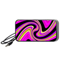 Pink And Yellow Portable Speaker (black)  by Valentinaart