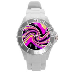 Pink And Yellow Round Plastic Sport Watch (l) by Valentinaart