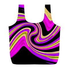 Pink And Yellow Full Print Recycle Bags (l)  by Valentinaart