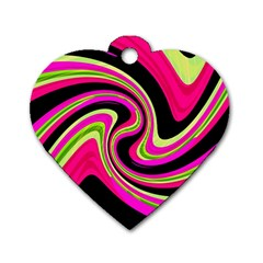 Magenta And Yellow Dog Tag Heart (one Side) by Valentinaart