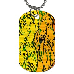 Gentle Yellow Abstract Art Dog Tag (one Side) by Valentinaart