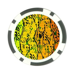 Gentle Yellow Abstract Art Poker Chip Card Guards (10 Pack)  by Valentinaart