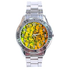 Gentle Yellow Abstract Art Stainless Steel Analogue Watch by Valentinaart
