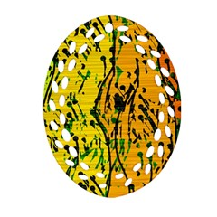 Gentle Yellow Abstract Art Oval Filigree Ornament (2 Side)  by Valentinaart