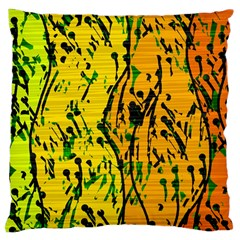 Gentle Yellow Abstract Art Large Cushion Case (two Sides) by Valentinaart