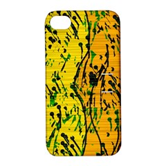 Gentle Yellow Abstract Art Apple Iphone 4/4s Hardshell Case With Stand by Valentinaart
