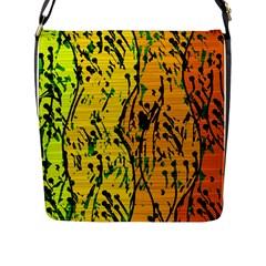 Gentle Yellow Abstract Art Flap Messenger Bag (l)  by Valentinaart
