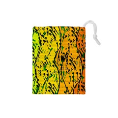 Gentle Yellow Abstract Art Drawstring Pouches (small)  by Valentinaart