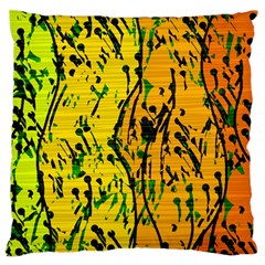 Gentle Yellow Abstract Art Large Flano Cushion Case (one Side) by Valentinaart