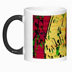 Maroon And Ocher Abstract Art Morph Mugs by Valentinaart