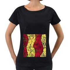 Maroon and ocher abstract art Women s Loose-Fit T-Shirt (Black) by Valentinaart