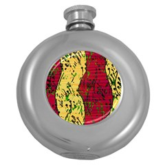 Maroon And Ocher Abstract Art Round Hip Flask (5 Oz) by Valentinaart
