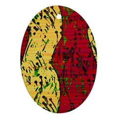 Maroon And Ocher Abstract Art Oval Ornament (two Sides) by Valentinaart