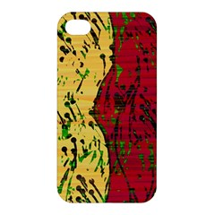 Maroon And Ocher Abstract Art Apple Iphone 4/4s Premium Hardshell Case by Valentinaart