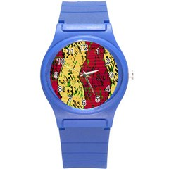 Maroon And Ocher Abstract Art Round Plastic Sport Watch (s) by Valentinaart