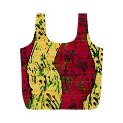 Maroon And Ocher Abstract Art Full Print Recycle Bags (m)  by Valentinaart