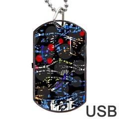 Blue Confusion Dog Tag Usb Flash (one Side) by Valentinaart